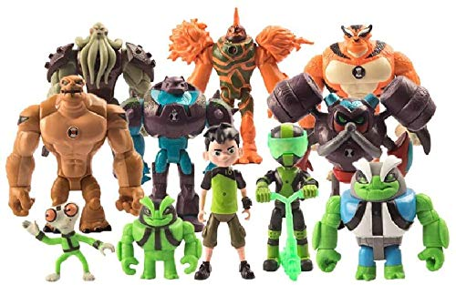 Ben 10 Action Figure Toys, 11pcs Ben Ten Toys Set(Ben,Grey Matter,Rath,Hot Shot,Slapback,Armored Shock Rock,Vilgax, Humungousaur,Rustbuggy Ben,Omni-Enhanced Overflow), Holiday Toy Gifts for Kids