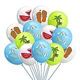Hawaii Luau Party Balloons,Watermelon Flip Flops Coconut Tree Beach Chair Balloons for Tropical Beaches Bachelorette Wedding Birthday Party Decoration Supplies