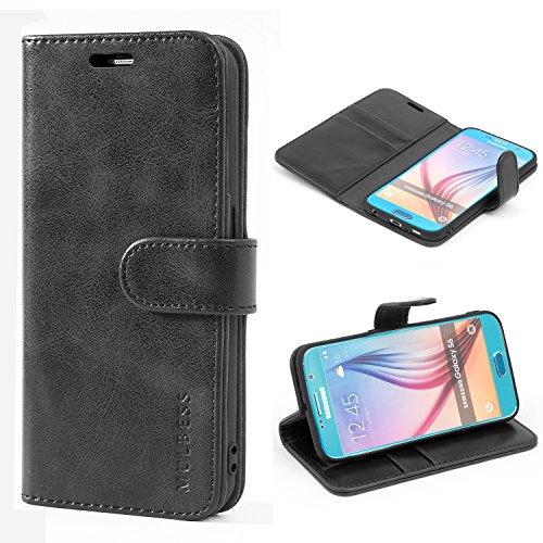 Mulbess Handyhülle für Samsung Galaxy S6 Hülle Leder, Samsung Galaxy S6 Handy Hüllen, Vintage Flip Handytasche Schutzhülle für Samsung Galaxy S6 Case, Schwarz