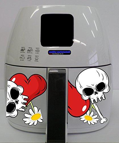 Stickers geschikt voor Philips Airfryer XL doodskop bloemen