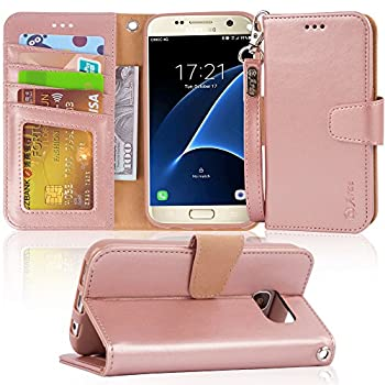Arae Case Compatible for Samsung Galaxy s7 [Wrist Strap] Flip Folio [Kickstand Feature] PU Leather Wallet case with ID&Credit Card Pockets  Rosegold
