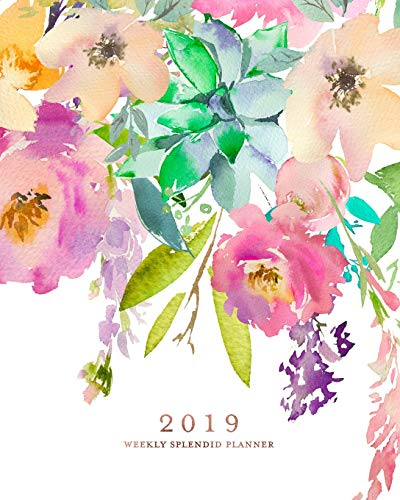 2019 Weekly Splendid Planner: Watercolor Florals Rose Gold Weekly Dated Agenda Diary Book, 12 Months, January - December 2019