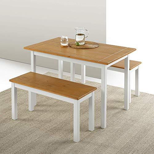 ZINUS Mesa de comedor de madera Becky de 114cm con dos bancos, Conjunto de tres piezas de madera maciza estilo casa de campo, Montaje sencillo
