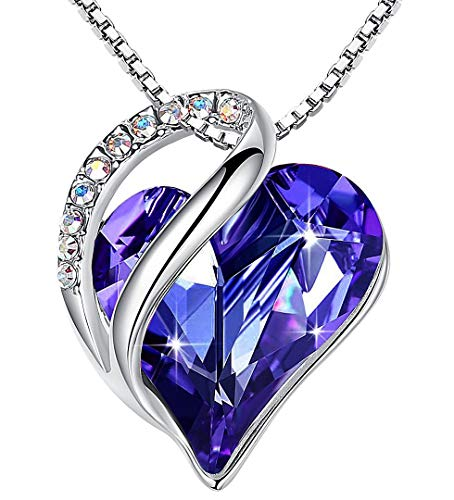 Leafael Infinity Love Heart Pendant Necklace Tanzanite Purple February Birthstone Crystal Jewelry Gifts for Women, Silver-Tone, 18'+2'