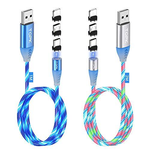 TOPK Cable de Carga Magnético 2 Pack, Gen3 Upgrade 3A Rápi
