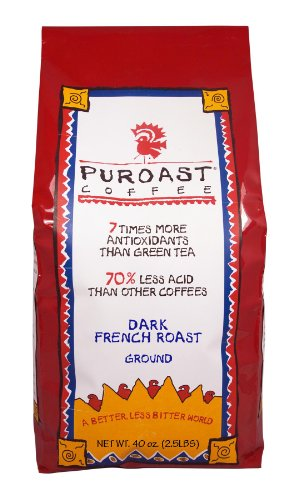 Puroast Low Acid Ground Coffee, French Roast, High Antioxidant, 2.5 Pound Bag