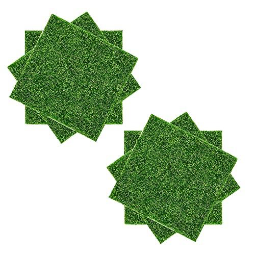 Cyleibe 6 Stück Künstliche Grasmatte, Miniatur Moos Gras Garten Kunstrasen Verzierung Moos, 15x15cm Deko Rasen für Garten Balkon Haus