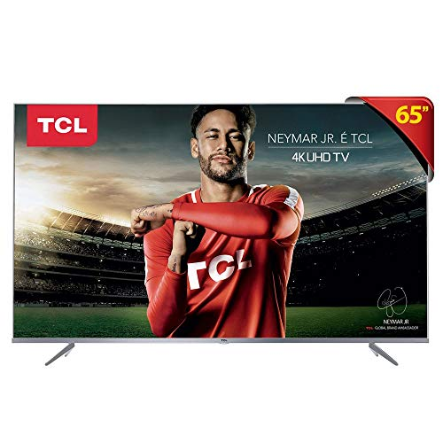 Smart TV LED 65' Ultra HD 4K HDR com Wifi integrado 3 HDMI 2 USB, TCL 65P6US, Prata