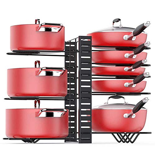 Pot Rack Storage Racks For Cabinets And Countertops Kitchen Metal Pot Racks Can Be Adjusted In Height And Position Pot Racks, Cutlery, And Drain Racks-Black 8 Layers