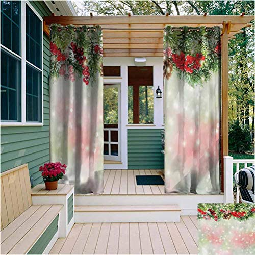 Christmas Room Darkening Drape for Balcony Evergreen Fir Branches with Red Ripe Holly Berries Blurred Backdrop Garland for Outdoor Privacy Protection W54 x L63 Inch Red Green Brown