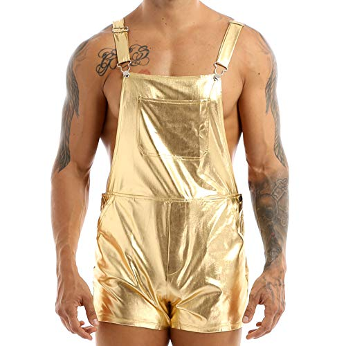 Agoky Herren Sexy Latzshorts kurz Lederhose Glänzend Pants Party Nachtclub DJ Disco Kostüm Männer Reizwäsche Gold XL