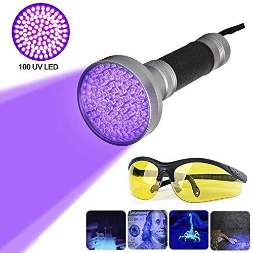 Preisvergleich Produktbild 100 LEDs UV Schwarzlicht Taschenlampe mit UV-Schutzbrille Ultraviolett Handlampe Heimtierurindetektoren für eingetrocknete Urin- Flecken der Hunde Katzen und Nagetiere