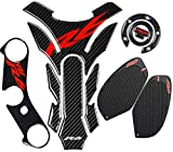 yamaha r6 tank pad - REVSOSTAR Real Carbon Fibre Gas Cap, Anti Slip sticker, Triple Tree Front End Upper, Top Clamp Decal Stickers, Tank Pad, Tank Protector for R6 600 2006-2016, 4 Pcs Per Set