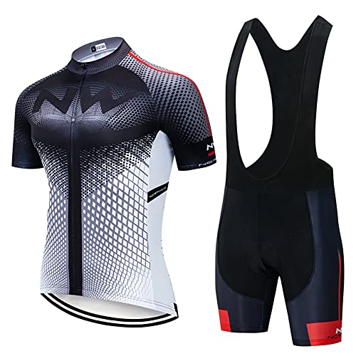 OJKYK Mens Cycling Clothing Suit Bicycle Jersey Set Summer Top + Bib Shorts Padded 19d Gel Seat Pad For Riding Bike Clothing Set Comfortable Quick Dry Men Short Sleeve Jersey