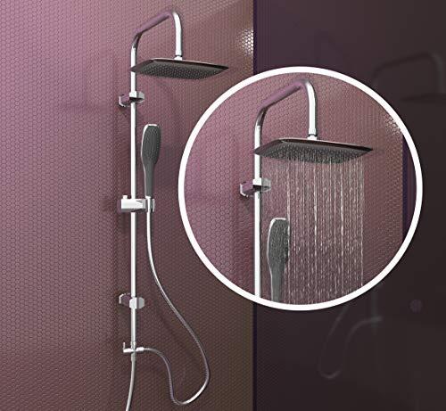 EISL Duschset EASY FRESH, Duschsäule 2 in 1 mit großer Regendusche (250 x 200 mm) und Handbrause, ideal zum Nachrüsten durch Nutzung vorhandener Bohrlöcher, komplettes Montageset, Chrom DX12006