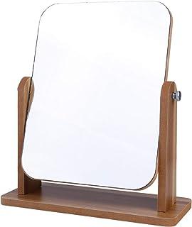 PIXNOR Desktop Mirror Table Makeup Vanity with Wood Frame Portable Desk Standing Vanity Mirror for Bedroom Bathroom Office