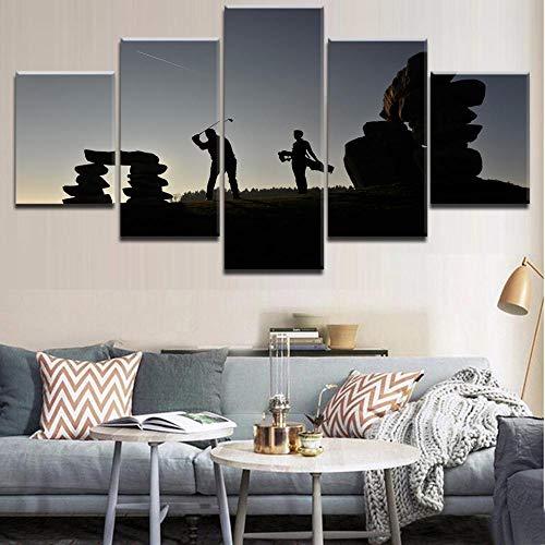 rkmaster- hoogwaardige canvasdruk schilderij Cuadros wooncultuur wandkunst modulair frame 5 planken sport golffoto's voor woonkamer     schilderijen