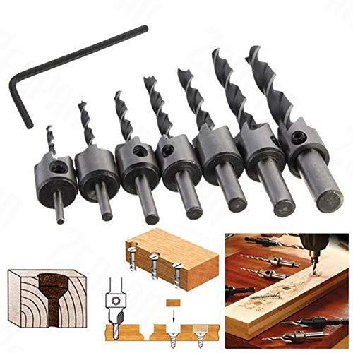 SHIJING 7 stücke 3mm-10mm 5 Flöte Senker Bohrer Set Zimmerei Reibahle Holzbearbeitung Fase Schaftfräsen
