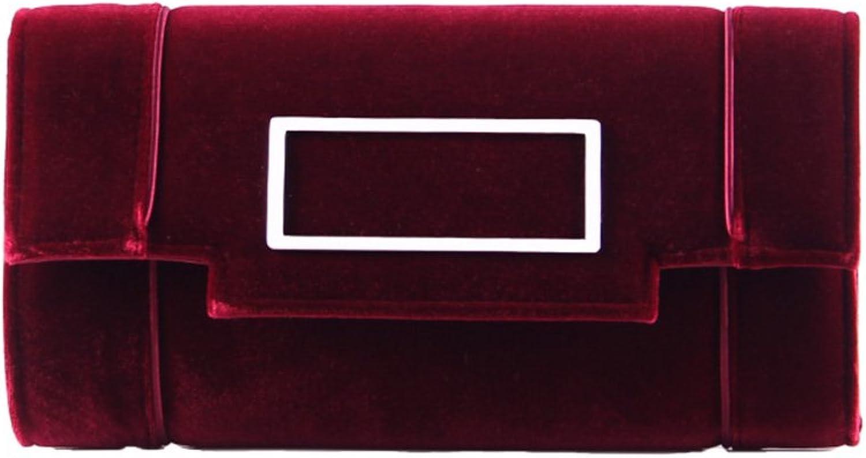 Grace Angel Women's Clutch Classic Purse Evening Bag Handbag With Flannelette GA17606(Red)