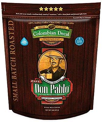 2LB Cafe Don Pablo Decaf Swiss Water Process Colombian Gourmet Coffee Decaffeinated - Medium-Dark Roast - Whole Bean Coffee