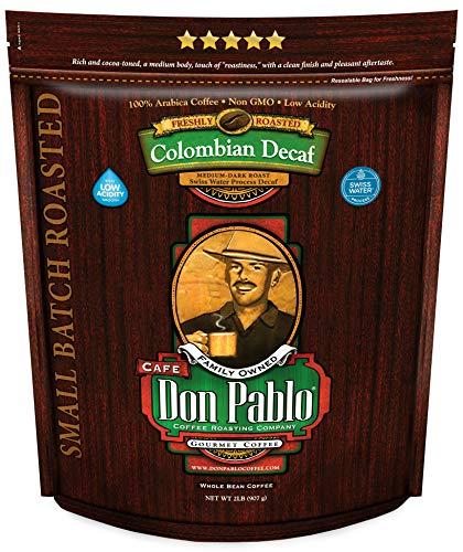2LB Don Pablo Colombian Decaf - Swiss Water Process Decaffeinated - Medium-Dark Roast - Whole Bean Coffee - Low Acidity - 2 Pound (2 lb) Bag