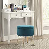 MAISON ARTS Velvet Round Ottoman with Storage Foot Stool Vanity Stool Seat Dressing Chair Footrest Side Table Tufted Ottoman Coffee Table with Golden Metal Leg & Tray Top for Living Room Bedroom, Teal