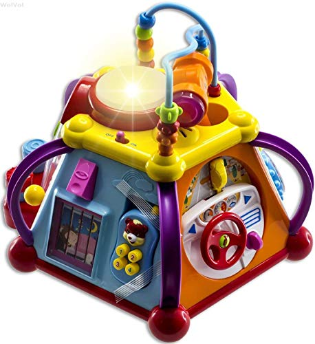 WolVol Educational Kids Toddler Baby Toy Musical Activity Cube Play Center with...