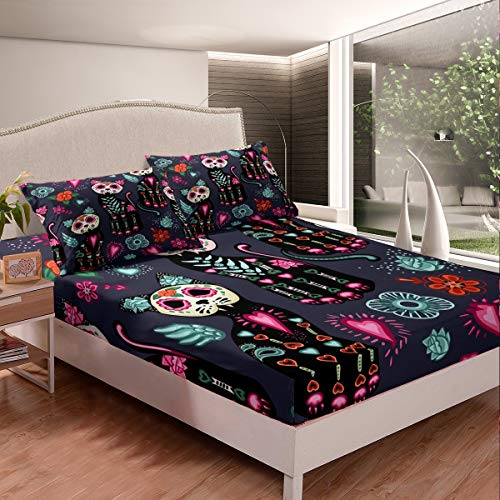 Navy Flower Cat Bed Fitted Sheet Queen Bohemian Bedding Set Kids Soft Microfiber for Children Adult Cartoon Skull Bed Sheet Bed Cover for Best Gift Queen 3pcs (1 Fitted Sheet & 2 Pillow Case)