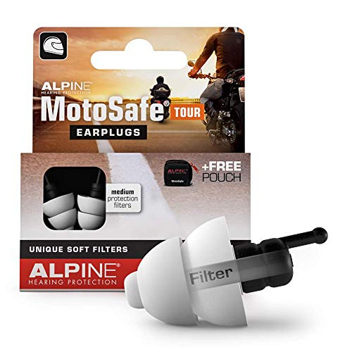 Alpine MotoSafe Tour Gehörschutzstöpsel - Touringstöpsel - Verhindern Gehörschäden vom Motorradfahren - Verkehr noch hörbar - Bequemeshypoallergenes Material - wiederverwendbar