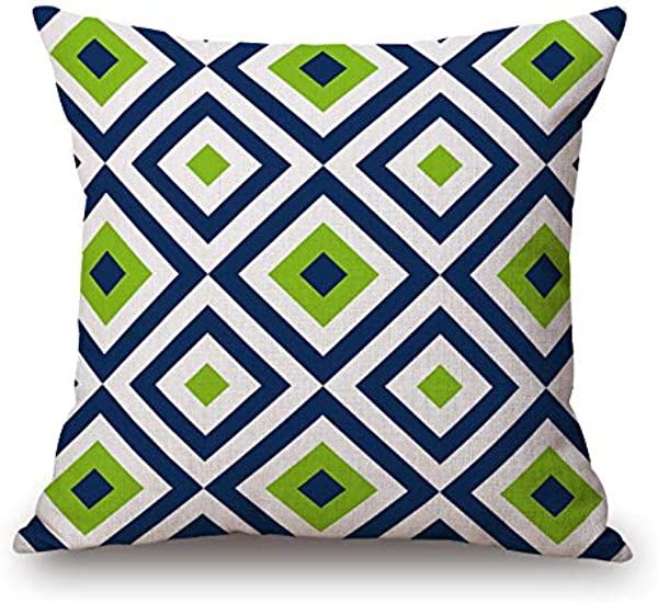 Throw Pillow Cover 18x18 Beautiful Abstract Geometric Square Diamonds Navy Lime White Spring Summer Home Decor Invisible Zipper Durable Decorative Cushion Cover Pillow Case Sofa Couch Bed Living Room