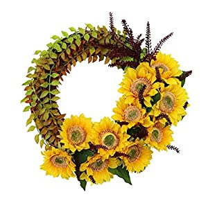 WYI 16 Inch Artificial Sunflower Wreath for Front Door Decorative Silk Flower Wreath with Yellow Sunflower and Green Leaves Simulation Summer Spring Wreath for Home Party Wedding Decor