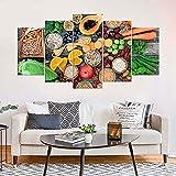 KOPASD Cuadro en Lienzo 200x100 cm Alimentos saludables Verduras de Frutas Impresión de 5 Piezas Material Tejido no Tejido Impresión Artística Imagen Gráfica Decoracion de Pared Ciudad