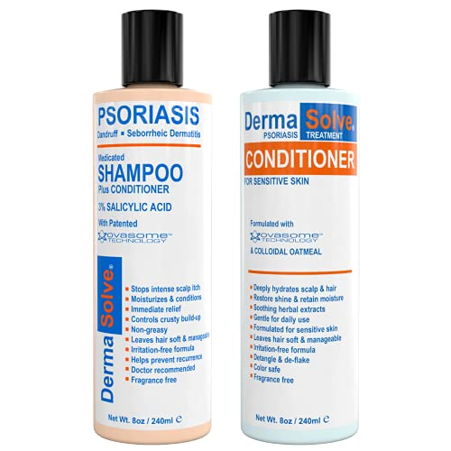 Scalp Psoriasis & Dandruff Shampoo and Conditioner by DermaSolve   Seborrheic Dermatitis Shampoo & Conditioner - Naturally Heals Itchy Flakey Inflamed Skin and Provides Soothing Moisturizing Relief