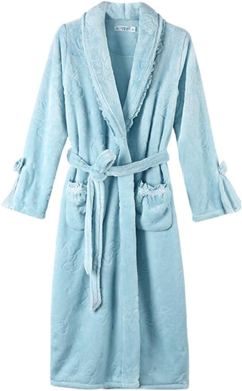NAN Liang Cotton Gown, Female Autumn and Winter Thick Sexy Pajamas, Plus Long Bathrobe Bathrobe Dress Robe Soft (Size   XXL)