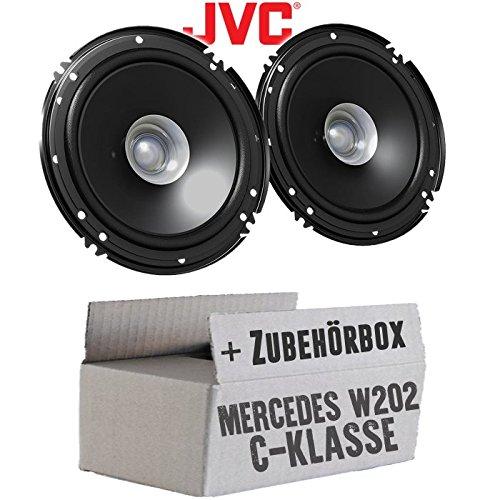 Lasse W202 Front - Lautsprecher Boxen JVC CS-J610X - 16cm Auto Einbauzubehör 300Watt Koaxe KFZ PKW Paar - Einbauset für Mercedes C-Klasse JUST SOUND best choice for caraudio