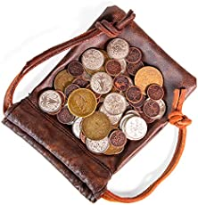 The Dragon's Hoard: 60 Real Metal Fantasy Coins with Leather Pouch | Board Game Accessory for Tabletop RPG Role-Play Strategy Games | Bronze, Silver, and Gold Colored Coins