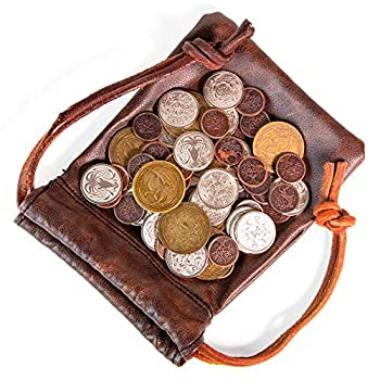 The Dragon s Hoard  60 Real Metal Fantasy Coins with Leather Pouch   Board Game Accessory for Tabletop RPG Role-Play Strategy Games   Bronze Silver and Gold Colored Coins