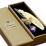 Toirxarn Marque-page plume en métal, avec papillon 3D et perles de verre...