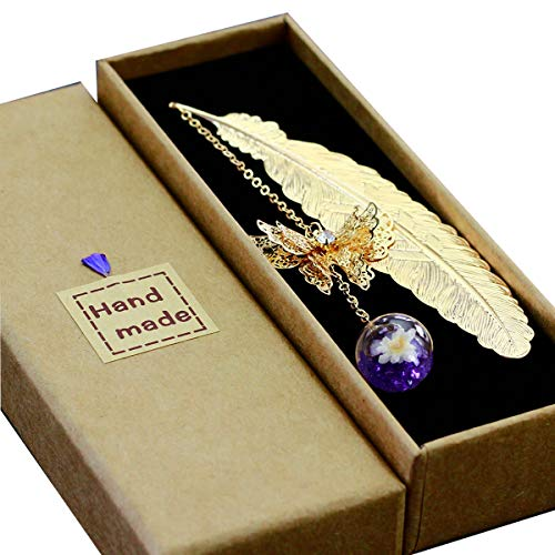 Toirxarn Metal Feather Bookmark Gift With 3D Butterfly, Glass Bead Dry Flower And Purple Crystal. Gift Boxes For Women, Girls, Readers.