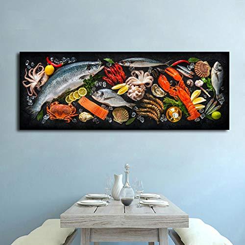 Kök tema duk väggkonst dekoration fisk och skaldjur bord målning affisch utskrift restaurang bild 50x150cmx1 bit ramlös