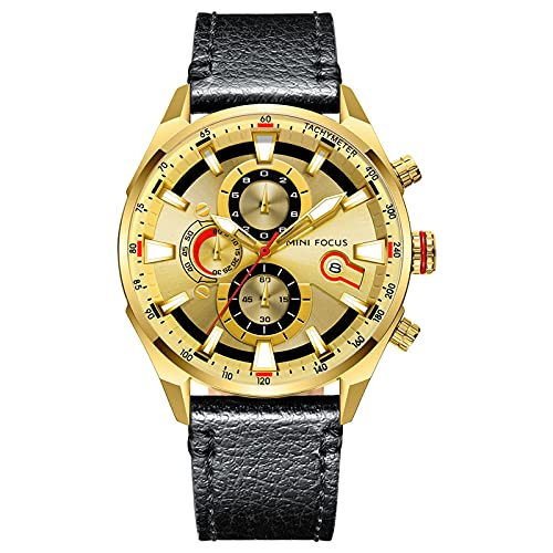 JTTM Reloj De Cuarzo Analógico para Hombre Manos Luminosas Calendario Multifunción Impermeable Cronógrafo Correa De Cuero Relojes para Hombre,Oro