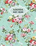 Agenda 2021-2022 motif Fleurs: Carnet de Notes et Planificateur, Agenda Scolaire –Agenda de Travail, Agenda Mensuel, Bouquet de Fleurs Rouges, Roses et Jaunes Pour Fille et Femme