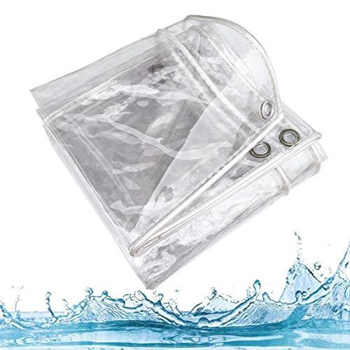 Lona de Protección a Prueba de Lluvia y Polvo Resistente Al Frio, Cubierta de Aislamiento de Plantas,Película de PVC Transparente, Toldo Vela de Sombra de Patio,0.35mm,con Ojal(2.4x6m/7.9x19.7ft)