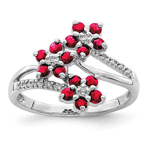 925 Sterling Silver 3 Flower Red Ruby Diamond Band Ring Size 7.00 Leaf Gemstone Fine Jewellery For Women Gifts For Her