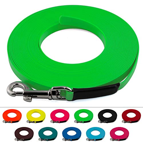 LENNIE Leichte BioThane Schleppleine, 16mm, Hunde 25-35kg, 1m lang, ohne Handschlaufe, Neon-Grün, genäht