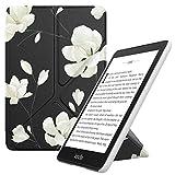 MoKo Hülle Angepasst für Kindle Paperwhite, Origami Ständer Schutzhülle mit Auto Sleep/Wake Geeignet für Kindle Paperwhite (10th Generation, 2018 Releases) - Schwarze und Weiße Magnolie
