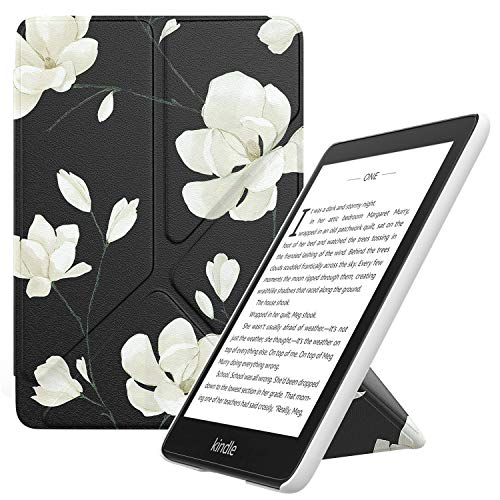 MoKo Funda Encaja Kindle Paperwhite, Standing Origami Slim Shell Funda con Auto Sueño/Estela Compatible con Kindle Paperwhite (10th Generation, 2018 Releases) - Negro & Blanco Magnolia
