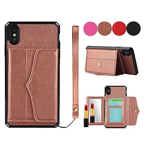 SailorTech Cubierta Trasera para iPhone X/XS Funda de Cartera de Cuero de PU Premium con Espejo, cordón, Ranuras de Tarjeta Kickstand Oro Rosa