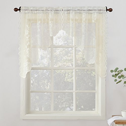 """No. 918 48934 Alison Sheer Lace Kitchen Curtain Swag Pair, 58"""" x 38"""", Ivory"""