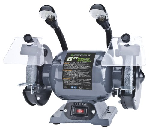 Genesis GBG600L 6' Bench Grinder with Dual, Flexible Lights and Eye Shield